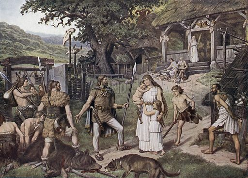 Germanic farstead of the time before the Barbarian invasions. Illustration from Panorama der Weltgeschichte, by M Reymond (Internationaler Weltverlag, Berlin, c1905).