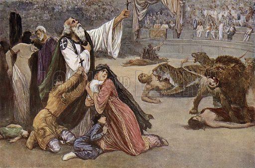 Martyrdom of Christians in the Roman arena. Illustration from Panorama der Weltgeschichte, by M Reymond (Internationaler Weltverlag, Berlin, c1905).