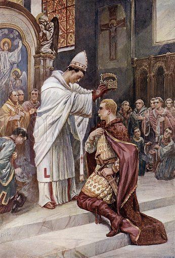 Pope Leo III crowning Charlemagne Holy Roman Emperor in St Peter's Basilica, Rome, 800. Illustration from Panorama der Weltgeschichte, by M Reymond (Internationaler Weltverlag, Berlin, c1905).