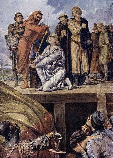 Execution of Conradin of Hohenstaufen, Duke of Swabia and King of Jerusalem and Sicily, Naples, 1268. Illustration from Panorama der Weltgeschichte, by M Reymond (Internationaler Weltverlag, Berlin, c1905).