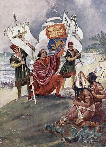Christopher Columbus making landfall in the New World, 1492. Illustration from Panorama der Weltgeschichte, by M Reymond (Internationaler Weltverlag, Berlin, c1905).