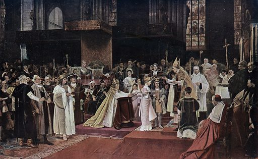 Tu felix Austria nube: engagement of the grandchildren of the Holy Roman Emperor Maximilian I and the children of King Ladislaus II of Bohemia and Hungary in St Stephen's Cathedral, Vienna, 1515. Illustration from Panorama der Weltgeschichte, by M Reymond (Internationaler Weltverlag, Berlin, c1905).