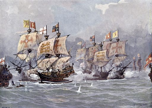 Battle between the Spanish Armada and the English fleet commanded by Admiral Lord Howard off Calais, France, 8 August 1588. Illustration from Panorama der Weltgeschichte, by M Reymond (Internationaler Weltverlag, Berlin, c1905).