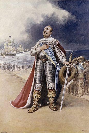 Gustavus Adolphus, King of Sweden landing on German soil during the Thirty Years War, 1630. Illustration from Panorama der Weltgeschichte, by M Reymond (Internationaler Weltverlag, Berlin, c1905).