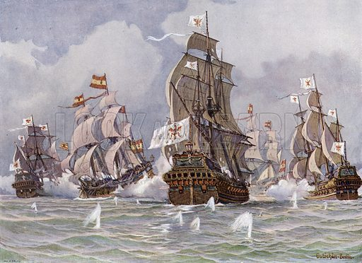 The Brandenburg squadron commanded by Thomas Alders attacking a Spanish treasure convoy of Cape St Vincent, Portugal, 30 September 1681. Illustration from Panorama der Weltgeschichte, by M Reymond (Internationaler Weltverlag, Berlin, c1905).