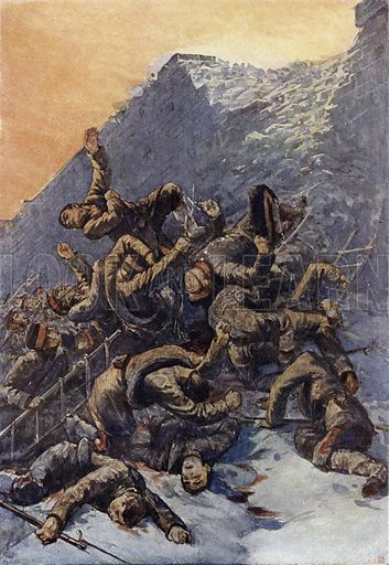 Japanese soldiers storming a Russian position during the Siege of Port Arthur, Manchuria, Russo-Japanese War, 1904. Illustration from Panorama der Weltgeschichte, by M Reymond (Internationaler Weltverlag, Berlin, c1900).
