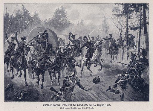 Death of German poet and soldier Theodor Koerner pursuing the French at Gadebusch, 26 August 1813. Illustration from Panorama der Weltgeschichte, by M Reymond (Internationaler Weltverlag, Berlin, c1905).