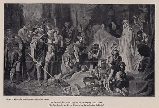 The dying Alexander the Great receiving the homage of his army, Babylon, 323 BC. Illustration from Panorama der Weltgeschichte, by M Reymond (Internationaler Weltverlag, Berlin, c1905).