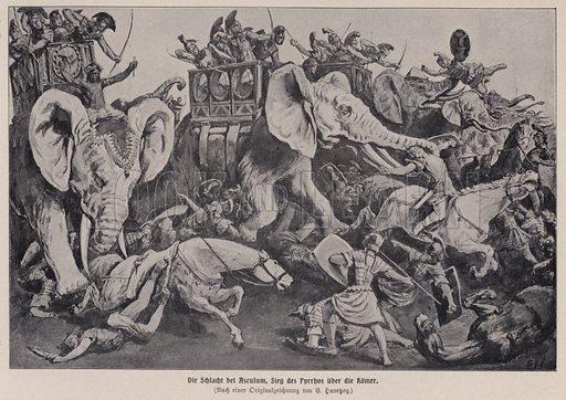 Victory of Pyrrhus of Epirus over the Romans at the Battle of Asculum, Italy, 279 BC. Illustration from Panorama der Weltgeschichte, by M Reymond (Internationaler Weltverlag, Berlin, c1905).