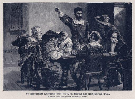 Council of War during the Swiss Peasant War, 1651-1654. Illustration from Panorama der Weltgeschichte, by M Reymond (Internationaler Weltverlag, Berlin, c1905).