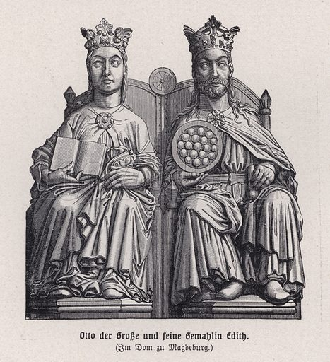 Otto the Great (912-973), King of Germany, and his first wife, Eadgyth of England (910-946). Illustration from Panorama der Weltgeschichte, by M Reymond (Internationaler Weltverlag, Berlin, c1905).