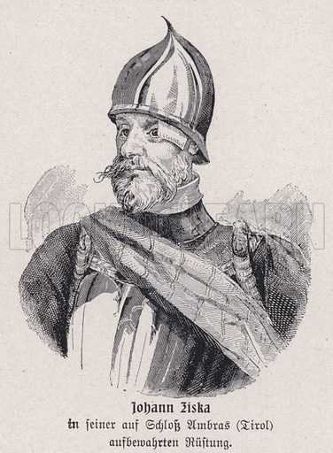 Jan Zizka (c1360-1424), Bohemian Hussite general. Illustration from Panorama der Weltgeschichte, by M Reymond (Internationaler Weltverlag, Berlin, c1905).