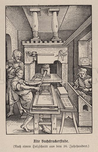 Book printing workshop, 16th Century. Illustration from Panorama der Weltgeschichte, by M Reymond (Internationaler Weltverlag, Berlin, c1905).