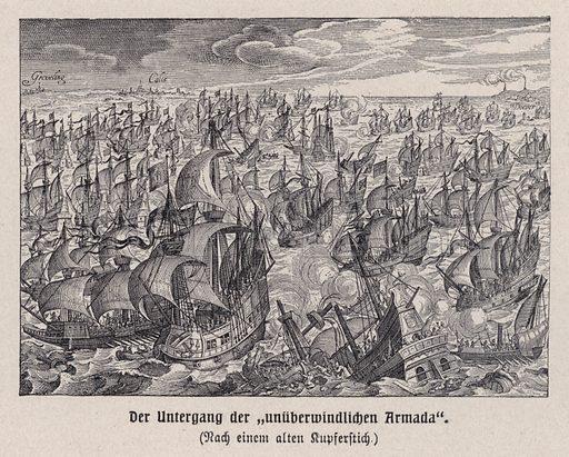 Destruction of the Spanish Armada, 1588. Illustration from Panorama der Weltgeschichte, by M Reymond (Internationaler Weltverlag, Berlin, c1905).