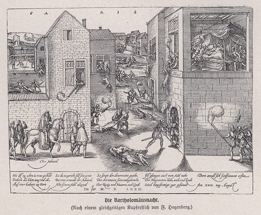 The St Bartholomew's Day Massacre, Paris, France, 1574. Illustration from Panorama der Weltgeschichte, by M Reymond (Internationaler Weltverlag, Berlin, c1905).