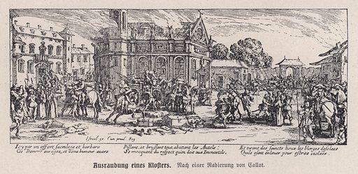 Destruction of a monastery during the Thirty Years War, 1618-1635. Illustration from Panorama der Weltgeschichte, by M Reymond (Internationaler Weltverlag, Berlin, c1905).