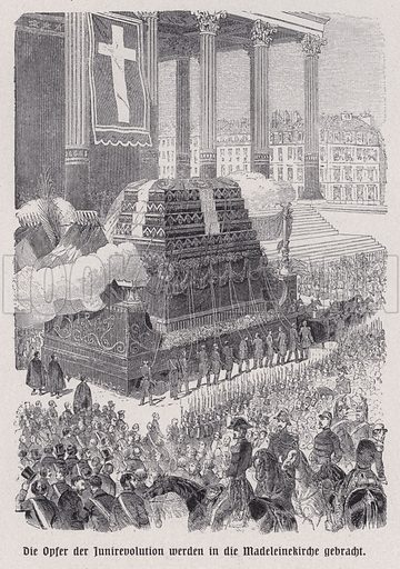 Hearse carrying the bodies of victims of the June Days uprising to their funeral at the Church of La Madeleine, Paris, France, 1848. Illustration from Panorama der Weltgeschichte, by M Reymond (Internationaler Weltverlag, Berlin, c1905).