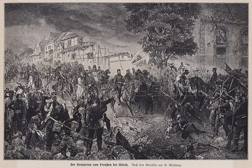 Crown Prince Frederick of Prussia at the Battle of Woerth, France, Franco-Prussian War, 1870. Illustration from Panorama der Weltgeschichte, by M Reymond (Internationaler Weltverlag, Berlin, c1905).