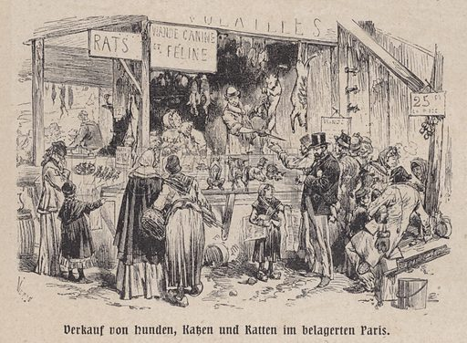 Stall selling dogs, cats and rats for food during the Siege of Paris, Franco-Prussian War, 1870-1871. Illustration from Panorama der Weltgeschichte, by M Reymond (Internationaler Weltverlag, Berlin, c1905).