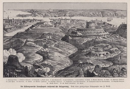 Russian fortifications, Siege of Sevastopol, Crimean War, 1854-1855. Illustration from Panorama der Weltgeschichte, by M Reymond (Internationaler Weltverlag, Berlin, c1905).