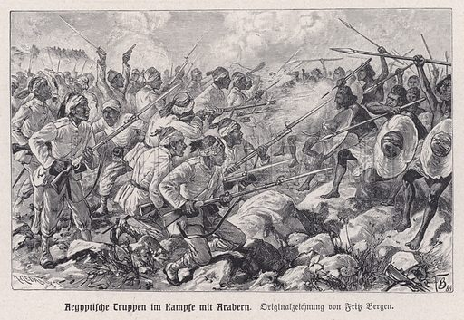 Egyptian troops fighting Mahdist warriors. Illustration from Panorama der Weltgeschichte, by M Reymond (Internationaler Weltverlag, Berlin, c1905).