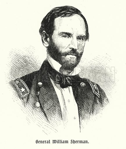 William Tecumseh Sherman (1820-1891), American general. Illustration from Panorama der Weltgeschichte, by M Reymond (Internationaler Weltverlag, Berlin, c1905).