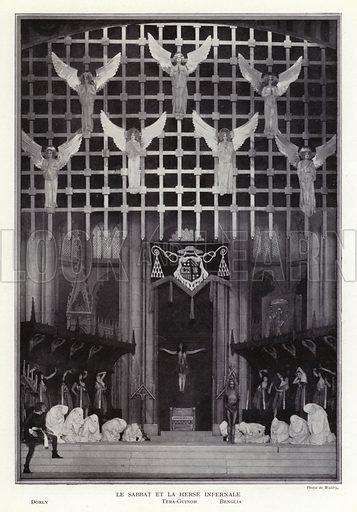 The Sabbath and the infernal portcullis, scene from Un Soir de Folie at the Folies Bergere, Paris, 1925. Illustration from La Revue des Folies Bergere - Un Soir de Folie (Paris Art Editions, 1925).