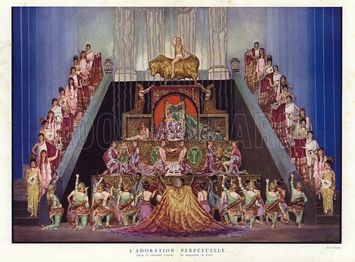 Perpetual Adoration, set and costume designs by Erte, scene from Un Soir de Folie at the Folies Bergere, Paris, 1925. Illustration from La Revue des Folies Bergere - Un Soir de Folie (Paris Art Editions, 1925).