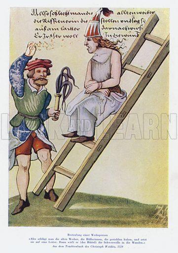Punishment of a woman in the 16th Century. Illustration from Das Weib als Sklavin, by Dr Joachim Welzl (Verlag fur Kulturforschung, Vienna and Leipzig, 1929).