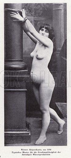 Postcard showing a naked woman tied to a pillar by her wrists, 1890. Illustration from Das Weib als Sklavin, by Dr Joachim Welzl (Verlag fur Kulturforschung, Vienna and Leipzig, 1929).