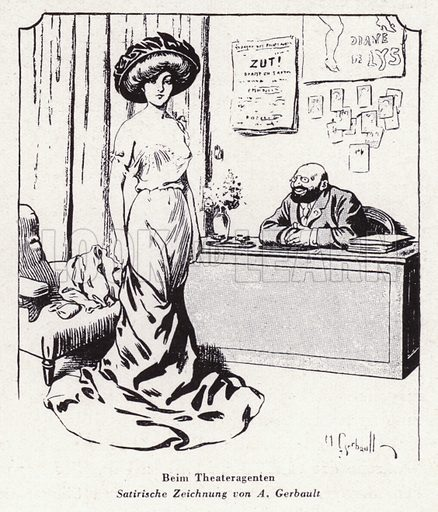 Woman visiting a theatrical agent. Illustration from Das Weib als Sklavin, by Dr Joachim Welzl (Verlag fur Kulturforschung, Vienna and Leipzig, 1929).