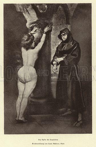 A victim of the Inquisition. Illustration from Das Weib als Sklavin, by Dr Joachim Welzl (Verlag fur Kulturforschung, Vienna and Leipzig, 1929).