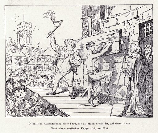 Public flogging of a woman for dressing like a man, 1750. Illustration from Das Weib als Sklavin, by Dr Joachim Welzl (Verlag fur Kulturforschung, Vienna and Leipzig, 1929).