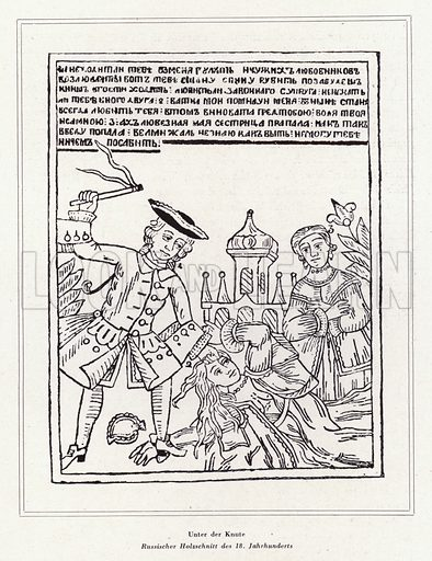 Woman being flogged in Russia, 18th Century. Illustration from Das Weib als Sklavin, by Dr Joachim Welzl (Verlag fur Kulturforschung, Vienna and Leipzig, 1929).