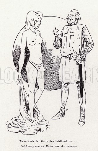 Medieval knight with a woman wearing a chastity belt. Illustration from Das Weib als Sklavin, by Dr Joachim Welzl (Verlag fur Kulturforschung, Vienna and Leipzig, 1929).