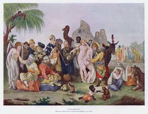 Circassian slave trade. Illustration from Das Weib als Sklavin, by Dr Joachim Welzl (Verlag fur Kulturforschung, Vienna and Leipzig, 1929).