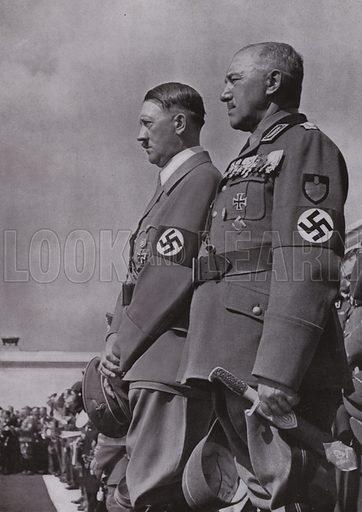 Nazi leader Adolf Hitler with Konstantin Hierl, leader of the Reich Labour Service (RAD). Illustration from Arbeitsmanner des Fuhrers, by Gustav von Estorff (Zeitgeschichte Verlag, Wilhelm Andermann, Berlin, 1939).