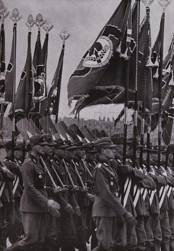 Parade of the flags of the Nazi Reich Labour Service (RAD) at the Nuremberg Rally. Illustration from Arbeitsmanner des Fuhrers, by Gustav von Estorff (Zeitgeschichte Verlag, Wilhelm Andermann, Berlin, 1939).