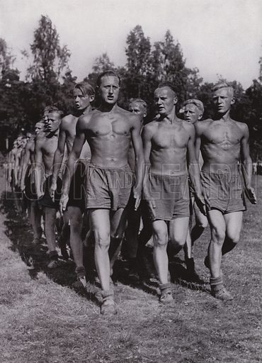 Nazi German workers of the Reich Labour Service (RAD) showing off their physiques honed by physical exercise. Illustration from Arbeitsmanner des Fuhrers, by Gustav von Estorff (Zeitgeschichte Verlag, Wilhelm Andermann, Berlin, 1939).