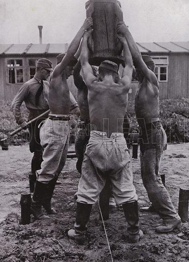 Workers of the Nazi German Reich Labour Service (RAD) constructing their wooden barracks. Illustration from Arbeitsmanner des Fuhrers, by Gustav von Estorff (Zeitgeschichte Verlag, Wilhelm Andermann, Berlin, 1939).