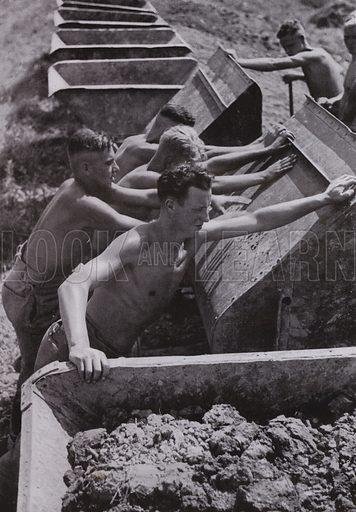 Nazi German workers of the Reich Labour Service (RAD) at work. Illustration from Arbeitsmanner des Fuhrers, by Gustav von Estorff (Zeitgeschichte Verlag, Wilhelm Andermann, Berlin, 1939).