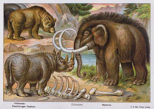 Prehistoric mammals. Illustration from Universum des Himmels, der Erde und des Menschen (F E Bilz, Dresden-Radebeul and Leipzig, c1925).