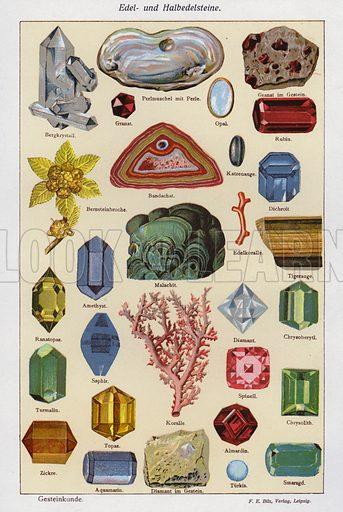 Precious and semi-precious stones. Illustration from Universum des Himmels, der Erde und des Menschen (F E Bilz, Dresden-Radebeul and Leipzig, c1925).