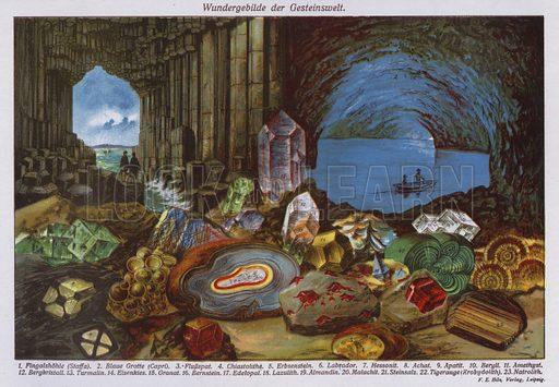 Wonders of the world or rocks and crystals. Illustration from Universum des Himmels, der Erde und des Menschen (F E Bilz, Dresden-Radebeul and Leipzig, c1925).