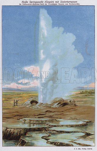 Geyser and sinter terraces, Yellowstone National Park, Wyoming, USA. Illustration from Universum des Himmels, der Erde und des Menschen (F E Bilz, Dresden-Radebeul and Leipzig, c1925).