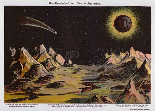 Lunar landscape, solar eclipse and Comet of 1911. Illustration from Universum des Himmels, der Erde und des Menschen (F E Bilz, Dresden-Radebeul and Leipzig, c1925).