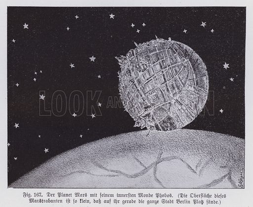 The planet Mars and its inner moon, Phobos. Illustration from Universum des Himmels, der Erde und des Menschen (F E Bilz, Dresden-Radebeul and Leipzig, c1925).