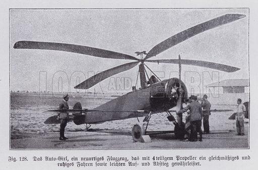 Autogyro, aircraft with both rotors and a propeller, invented by Spanish engineer Juan de la Cierva in 1923. Illustration from Universum des Himmels, der Erde und des Menschen (F E Bilz, Dresden-Radebeul and Leipzig, c1925).