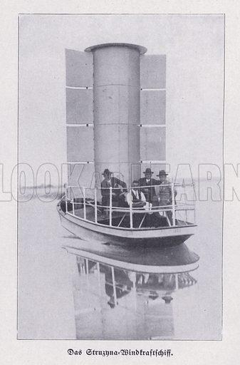 Struzyna, wind-powered boat using a Flettner rotor. Illustration from Universum des Himmels, der Erde und des Menschen (F E Bilz, Dresden-Radebeul and Leipzig, c1925).