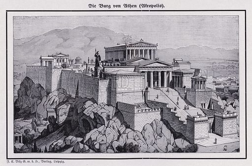 The Acropolis, Athens, Ancient Greece. Illustration from Universum des Himmels, der Erde und des Menschen (F E Bilz, Dresden-Radebeul and Leipzig, c1925).